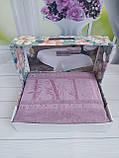 Летняя Махровая Бамбуковая Простынь Покрывало 200*220 см Евро Размер Однотонная Фиолетовая Турция Sofia Soft, фото 3