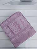 Летняя Махровая Бамбуковая Простынь Покрывало 200*220 см Евро Размер Однотонная Фиолетовая Турция Sofia Soft, фото 4