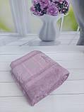 Летняя Махровая Бамбуковая Простынь Покрывало 200*220 см Евро Размер Однотонная Фиолетовая Турция Sofia Soft, фото 5