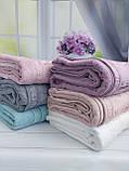 Летняя Махровая Бамбуковая Простынь Покрывало 200*220 см Евро Размер Однотонная Фиолетовая Турция Sofia Soft, фото 9