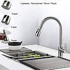 Выдвижной кухонный кран смеситель Sadalak с распылительной лейкой из нержавеющей стали Серебро, фото 4