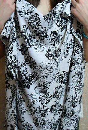 Хлопок черно-белый цветы, фото 2