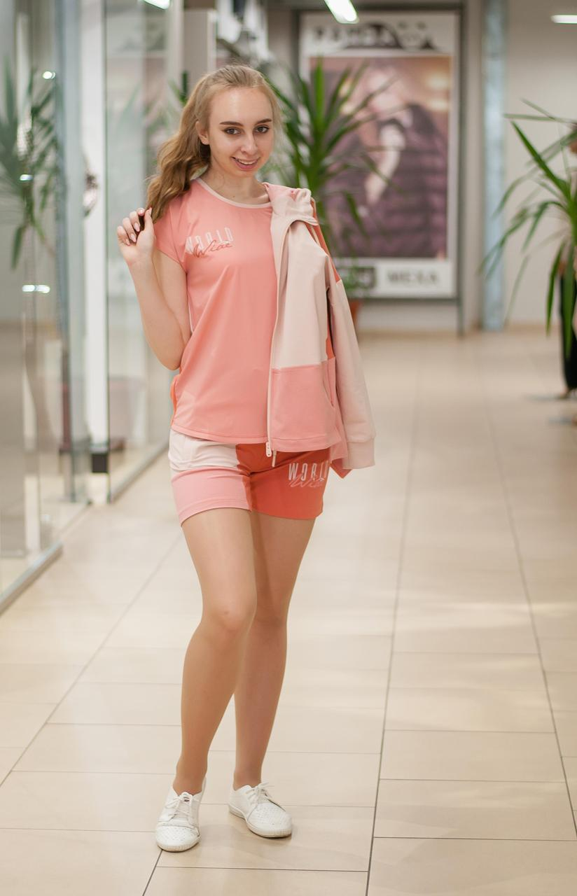 Женский летний  трикотажный  костюм футболка с шортами терракотовый  2119 810