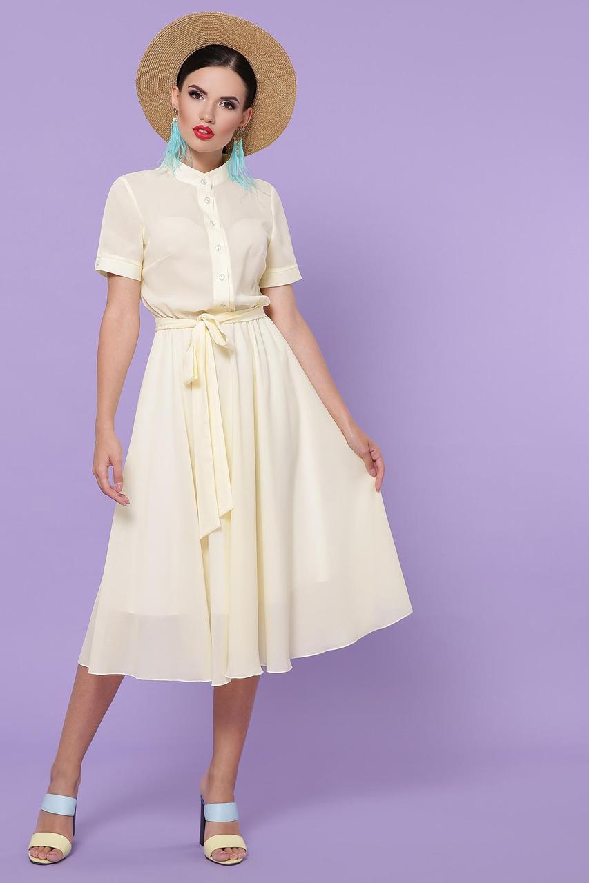 Платье миди летнее из шифона с отрезной юбкой   Изольда-2 к/р