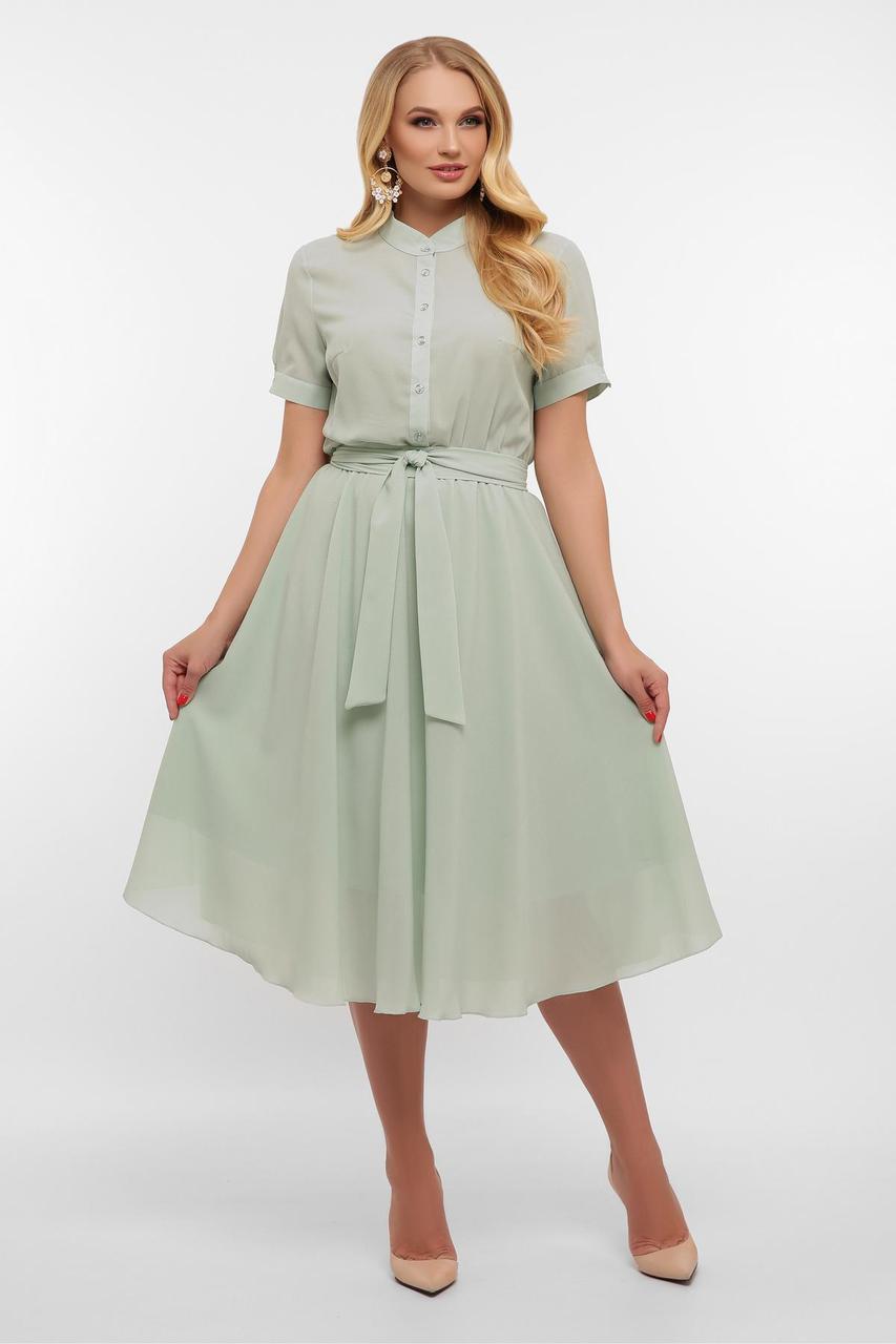 Платье  миди летнее из шифона с отрезной юбкой  Изольда-2Б к/р