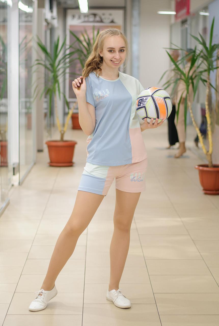 Жіночий річний трикотажний костюм футболка з шортами блакитний з м'ятою 2119 810