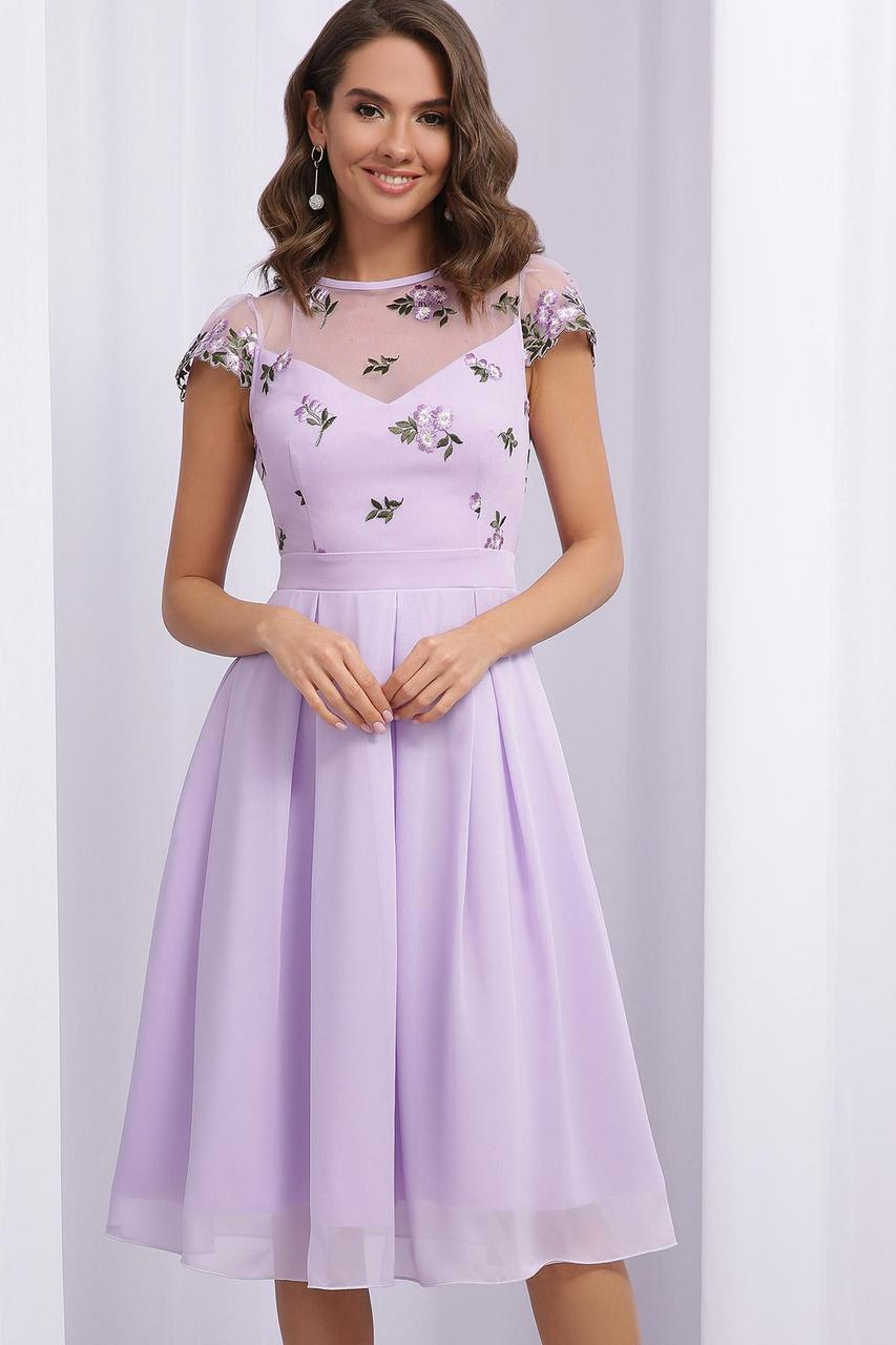 Платье  нарядное с сеткой вышивка с отрезной юбкой лавандовое Айседора б/р