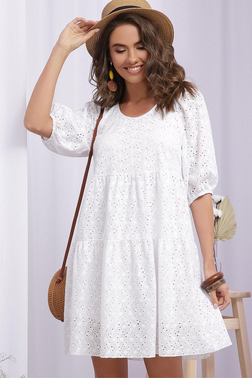Платье  летнее белое молодежное из батиста прошва с оборками Кати к/р