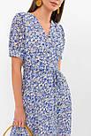 Платье  летнее шифоновое на запах в цветочный принт голубое Алеста к/р, фото 5