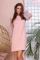 Коктейльне ніжне пудровое пряме плаття-міні з вышмвкой на пишних рукавах р. 42-46. Арт-4996/34, фото 1