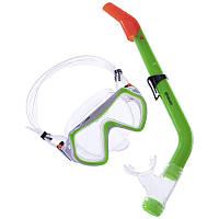 Детский набор для плавания 5-12 лет (маска с трубкой) Zelart M169-SN69-SIL салатовый