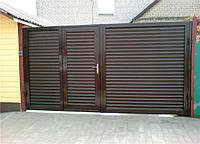Ворота распашные, зашивка профнастил - горизонтальное исполнение, фото 1