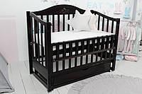 Ліжко Baby Comfort ЛД5, ящик, маятник+фіксатор, відкидний бік, бук, венге