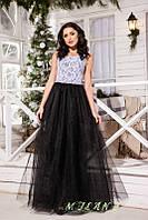 Платье из фатина и гипюра
