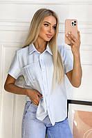 Рубашка льняная с карманом женская (ПОШТУЧНО), фото 1