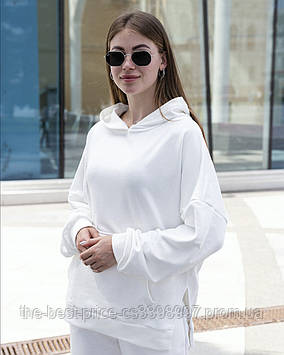 Худи Женское Oversize Slit Intruder Brand молочное - белое кофта толстовка