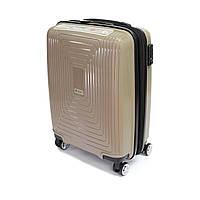 Удобный малый пластиковый чемодан на 4-х колесах, на 43 л Airtex бежевый, фото 1