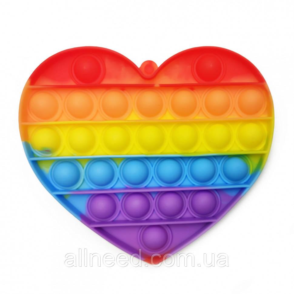 Іграшка-антистрес pops it Серце різнобарвний
