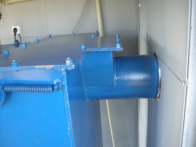 Вывод продуктов сгорания. Диаметр зависит от качества топлива и мощности котла.
