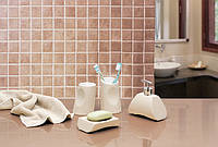 Набор аксессуаров для ванной из 4 предметов Акик бежевый керамика