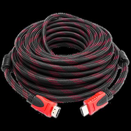 Кабель HDMI (папа-папа) 20м черно-красная оплетка (двойной феррит) v1.4, фото 2