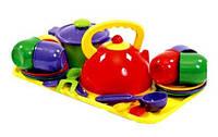 Детский игровой набор посуды с чайником, кастрюлей и подносом 70309, 23 предмета