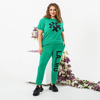 Женский летний спортивный костюм с футболкой и укороченными штанами (Батал)