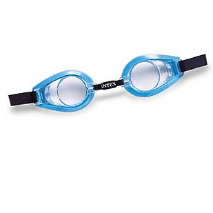 Детские очки для плавания Intex 55602, размер S, (3+), обхват головы ≈ 50 см, голубые