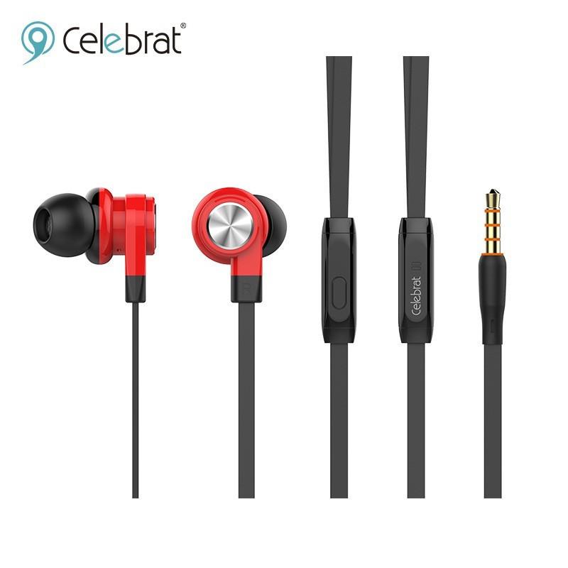 Наушники проводные Celebrat D9 (микрофон, плоский шнур) Red