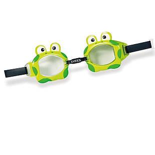 Детские очки для плавания Intex 55603 «Лягушка», размер S, (3+), обхват головы ≈ 50 см, зеленые