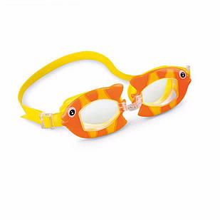 Детские очки для плавания Intex 55603 «Рыбка», размер S, (3+), обхват головы ≈ 50 см, оранжевый