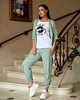 Брючный женский костюм тройка Рубашка +футболка +штаны в больших размерах