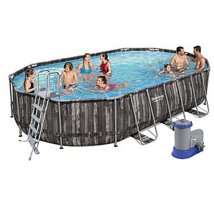 Каркасный бассейн Bestway 5611R, 610 х 366 х 122 см (5 678 л/ч, тент, лестница, дозатор)