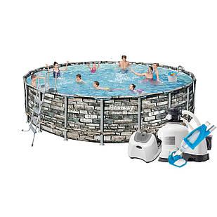 Каркасный бассейн Bestway 56883 - 13, 610 x 132 см (12 г/ч, 10 000 л/ч, лестница, тент, подстилка, набор для