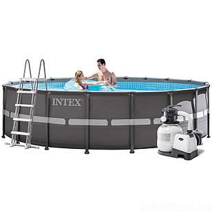 Каркасный бассейн Intex 26330, 549 x 132 см (6 000 л/ч, лестница, тент, подстилка)
