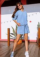 Льняной спортивный женский костюм голубого цвета с шортами и футболкой красивый модный