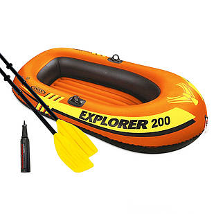 Полутораместная надувная лодка Intex 58331 Explorer 200 Set, 185 х 94 см,  (весла, мини насос). 2-х камерная