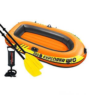 Полутораместная надувная лодка Intex 58357  196 х 102 см,  (весла, ручной насос).