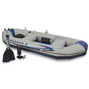 Трехместная надувная лодка Intex 68373  297 х 127 см,  (весла, ручной насос). 2-х камерная