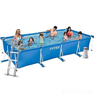 Каркасный бассейн Intex 28274 - 6, 450 х 220 х 84 см (2 006 л/ч, тент, подстилка, лестница)