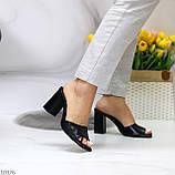 Шльопанці / сабо жіночі чорні на підборах 9,5 см натуральна шкіра, фото 5