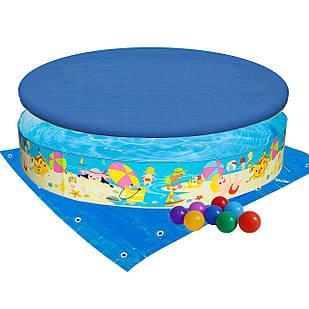 Бассейн детский каркасный Intex 56451-3 «Пляж на мелководье», 152 х 25 см, с шариками 10 шт, тентом,