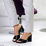 Шльопанці / сабо жіночі чорні на підборах 9,5 см натуральна шкіра, фото 6