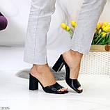 Шльопанці / сабо жіночі чорні на підборах 9,5 см натуральна шкіра, фото 7