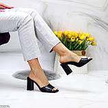Шльопанці / сабо жіночі чорні на підборах 9,5 см натуральна шкіра, фото 8