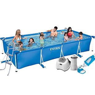 Каркасный бассейн Intex 28273 - 7, 450 х 220 х 84 см (4 г/ч, 3 785 л/ч, лестница, тент, подстилка, набор для