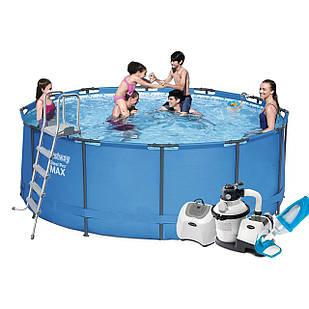 Каркасный бассейн Bestway 15427 - 10, 366 х 133 см (5 г/ч, 6 000 л/ч, лестница, тент, подстилка, набор для