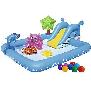 Надувной игровой центр Bestway 53052-1 «Аквариум», 239 х 206 х 86 см,с горкой, с игрушками, шариками  10 шт.