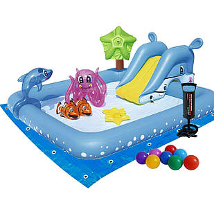 Надувной игровой центр Bestway 53052 -2 «Аквариум», 239 х 206 х 86 см,с горкой, с игрушками, шариками 10 шт,