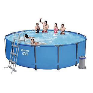 Каркасный бассейн Bestway 56488, 457 х 107 см (3 028 л/ч, лестница, тент)
